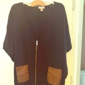 Loft Poncho style Cardigan with Zipper Size M/L
